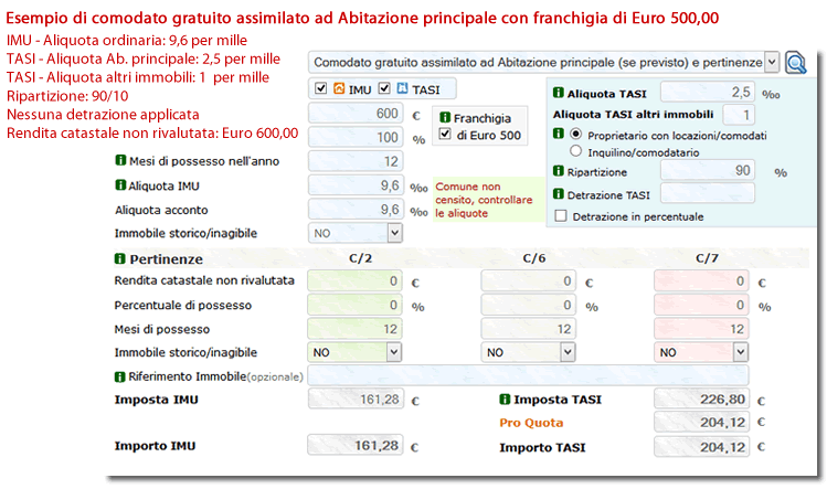 Comodato gratuito assimilato ad Abitazione principale con applicazione di franchigia di Euro 500,00